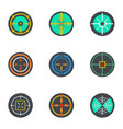 crosshair icon set flat style vector image vector image