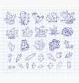 doodle pen sketch crystals collection of minerals vector image vector image