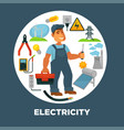 electrician with toolkit surrounded with vector image