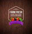 Farm fresh poster Wooden background typography vector image vector image