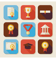 Flat Graduation and Success Squared App Icons Set vector image