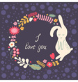 floral frame with hare vector image vector image
