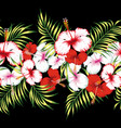 floral ribbon seamless black background vector image