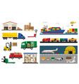 freight transport set transportation and freight vector image vector image