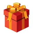 Gift box with ribbon and bow icon cartoon style vector image