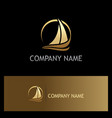 golden yacht boat sail logo vector image vector image