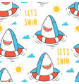 Hand drawing shark seamless pattern