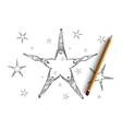 Hand drawn star formed by lying peoples hands vector image vector image