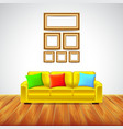 Interior room with yellow sofa and colorful vector image vector image