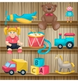 kids toys on shelves composition vector image vector image