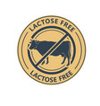lactose free product label logo or icon with no vector image vector image