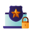 laptop screen with shield and star icon isolated vector image vector image