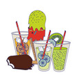 lemonade and orange cups with ice cream cone and vector image vector image