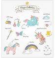 magic hand drawn set - unicorn rainbow and fairy vector image