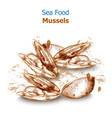 menu card mussels seafood fresh banner vector image