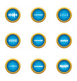 music line icons set flat style vector image vector image