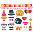 new year 2021 photo booth props set vector image vector image
