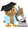 Owl professor in mortarboard holding the vector image vector image