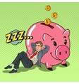 Pop Art Businessman Sleeping near Piggy vector image