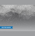 realistic falling snow with snowflakes and clouds vector image vector image