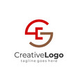 red brown abstract circular initial letter g and c vector image vector image