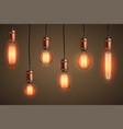 retro edison light bulb set vector image