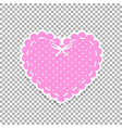 rose and white paper cut lacy heart sticker with vector image