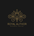 royal author logo template vector image vector image