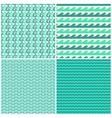 set aqua green waves seamless patterns vector image vector image