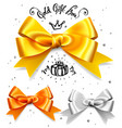 set gold silver and bronze gift bows satin vector image