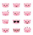 set happy pigs emojis vector image