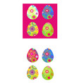 set of colored easter eggs with a bright pattern vector image vector image