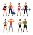 set of fitness people vector image