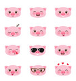 set of happy pigs emojis vector image vector image