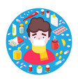 sick boy with drugs vector image
