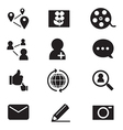 Silhouette Social network icons set vector image vector image