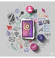 Speaker and collage with web icons background vector image vector image