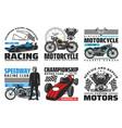 speedway motorcycle bike races retro cars racing vector image vector image