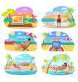 summer freelance distant work colorful posters set vector image vector image