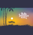 summer tropical seascape with palms at sunset vector image vector image