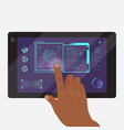tablet with futuristic game or application vector image vector image
