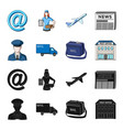 the postman in uniform mail machine bag for vector image vector image