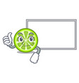 thumbs up with board green lemon slices in cartoon vector image vector image