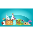 Travelling Attributes Composition On Blue vector image vector image