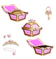 Treasure chest with pink jewelry and tiara