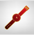 watch sign red icon on gold vector image vector image