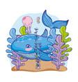 whale sea animal with seaweed plants vector image vector image