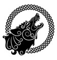 wolf on celtic style howling wolf in celtic vector image vector image