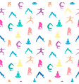 women in yoga pose seamless pattern background vector image