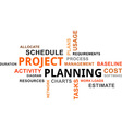word cloud project planning vector image vector image